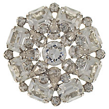 Buy Eclectica Vintage 1950s Chrome Plated Rhinestone Round Brooch, White Online at johnlewis.com