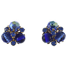 Buy Eclectica 1950s Gold Plated Rhinestone Cluster Clip-On Earrings, Blue Online at johnlewis.com