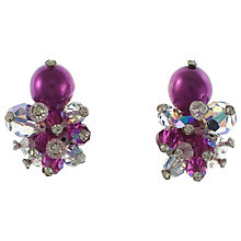 Buy Eclectica 1960s Crystal Cluster Clip-On Earrings, Purple Online at johnlewis.com