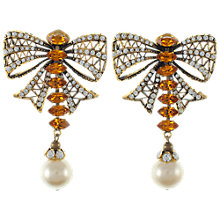 Buy Eclectica Vintage 1980s Rhinestone Bow Drop Clip-On Earrings, Topaz Online at johnlewis.com