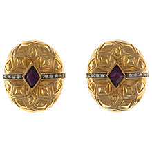 Buy Eclectica Vintage 1980s Gold Plated Glass Detail Oval Clip-On Earrings Online at johnlewis.com