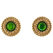 Buy Eclectica 1980s Gold Plated Green Glass Clip-On Earrings Online at johnlewis.com