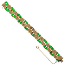 Buy Eclectica 1960s Gold Plated Green Glass Cabochon Bracelet Online at johnlewis.com