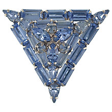 Buy Eclectica 1950s Chrome Plated Glass Stones Triangle Brooch, Blue Online at johnlewis.com
