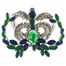 Buy Eclectica Vintage 1960s Chrome Plated Crown And Laurel Glass Stone Brooch, Green Online at johnlewis.com