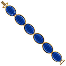 Buy Eclectica 1980s Gold Plated Large Cabochons Bracelet, Blue Online at johnlewis.com