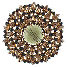 Buy Eclectica 1950s Gold Plated Rhinestone Round Brooch, Brown Online at johnlewis.com