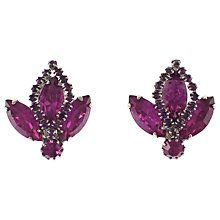 Buy Eclectica 1950s Chrome Plated Navette Clip-On Earrings, Purple Online at johnlewis.com