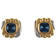 Buy Eclectica 1980s Chrome Plated Blue Glass Stone Clip-On Earrings Online at johnlewis.com