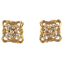 Buy Eclectica 1960s Trifari Gold Tone Faux Pearl Square Clip-On Earrings Online at johnlewis.com