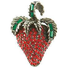 Buy Eclectica Vintage 1950s Rhinestone Japanned Strawberry Brooch, Red Online at johnlewis.com