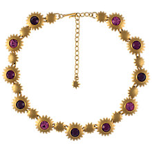 Buy Eclectica 1980s Gold Plated Glass Stones Stars Necklace, Purple Online at johnlewis.com