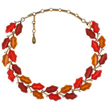 Buy Eclectica 1960s Gold Plated Thermoplastic Leaf Necklace, Orange Online at johnlewis.com