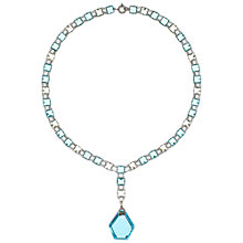 Buy Eclectica 1930s Chrome Plated Glass Drop Pendant Necklace, Blue Online at johnlewis.com