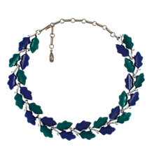 Buy Eclectica 1950s Chrome Plated Thermoplastic Leaf Necklace, Blue Online at johnlewis.com