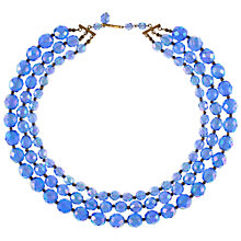 Buy Eclectica 1960s Three Row Bead Necklace, Blue Online at johnlewis.com