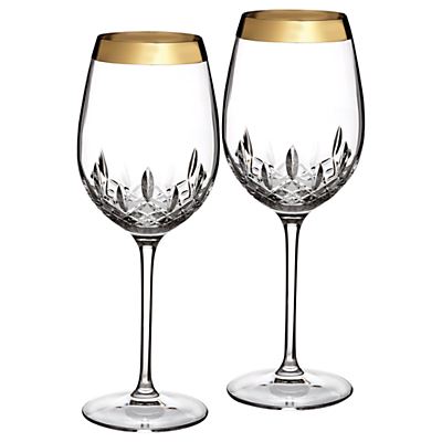 Waterford Lismore Essence Gold Goblets, Set of 2