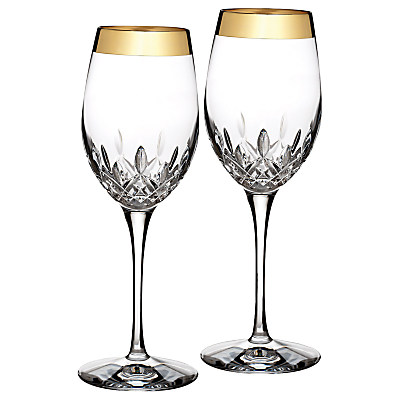 Waterford Lismore Essence Gold Wine Glasses, Set of 2