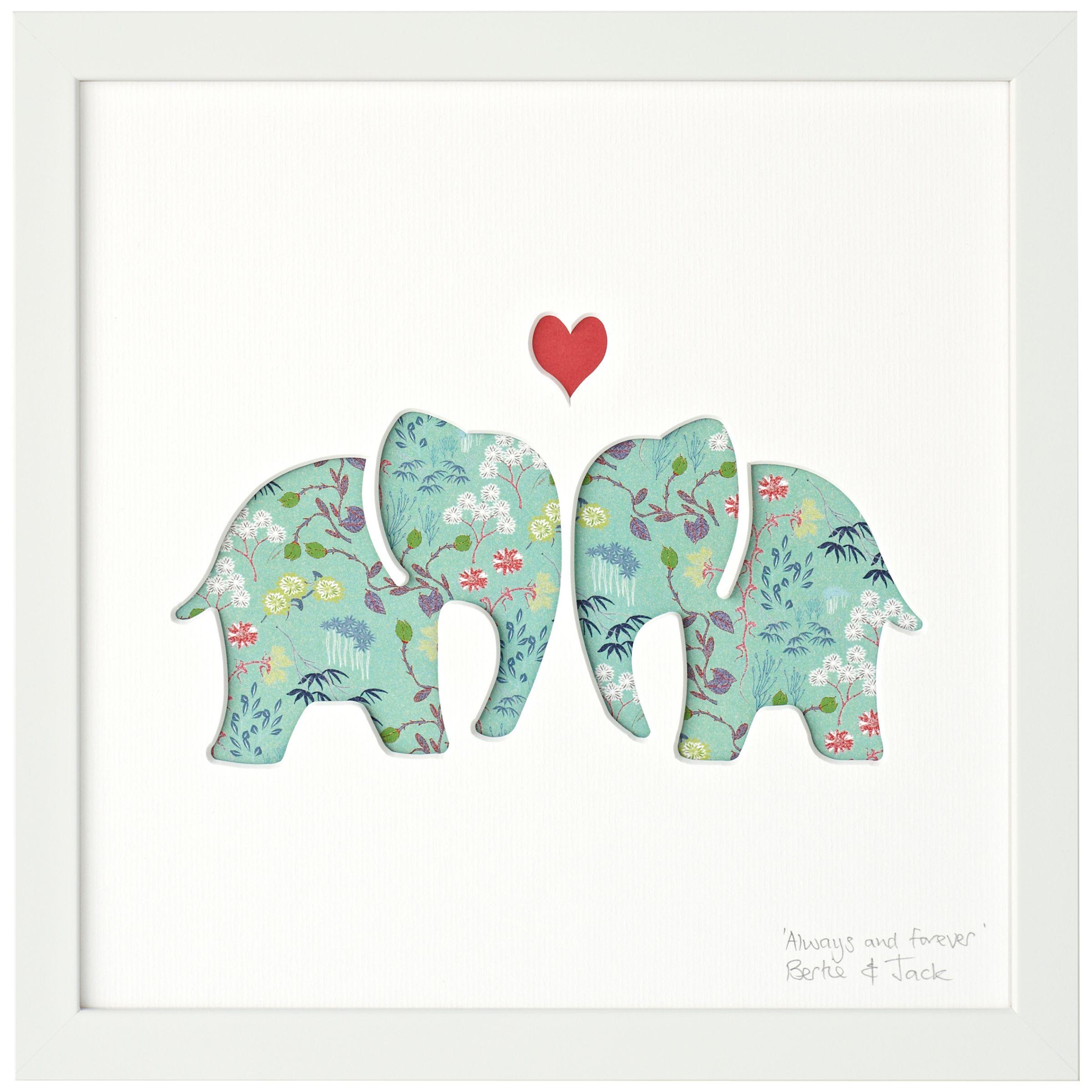 Bertie & Jack Bertie & Jack 'Always and Forever' Elephants Framed Cut-out, 27.4 x 27.4cm