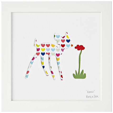 Buy Bertie & Jack 'Bambi  Hearts' Framed Cut-out, 20 x 20cm Online at johnlewis.com