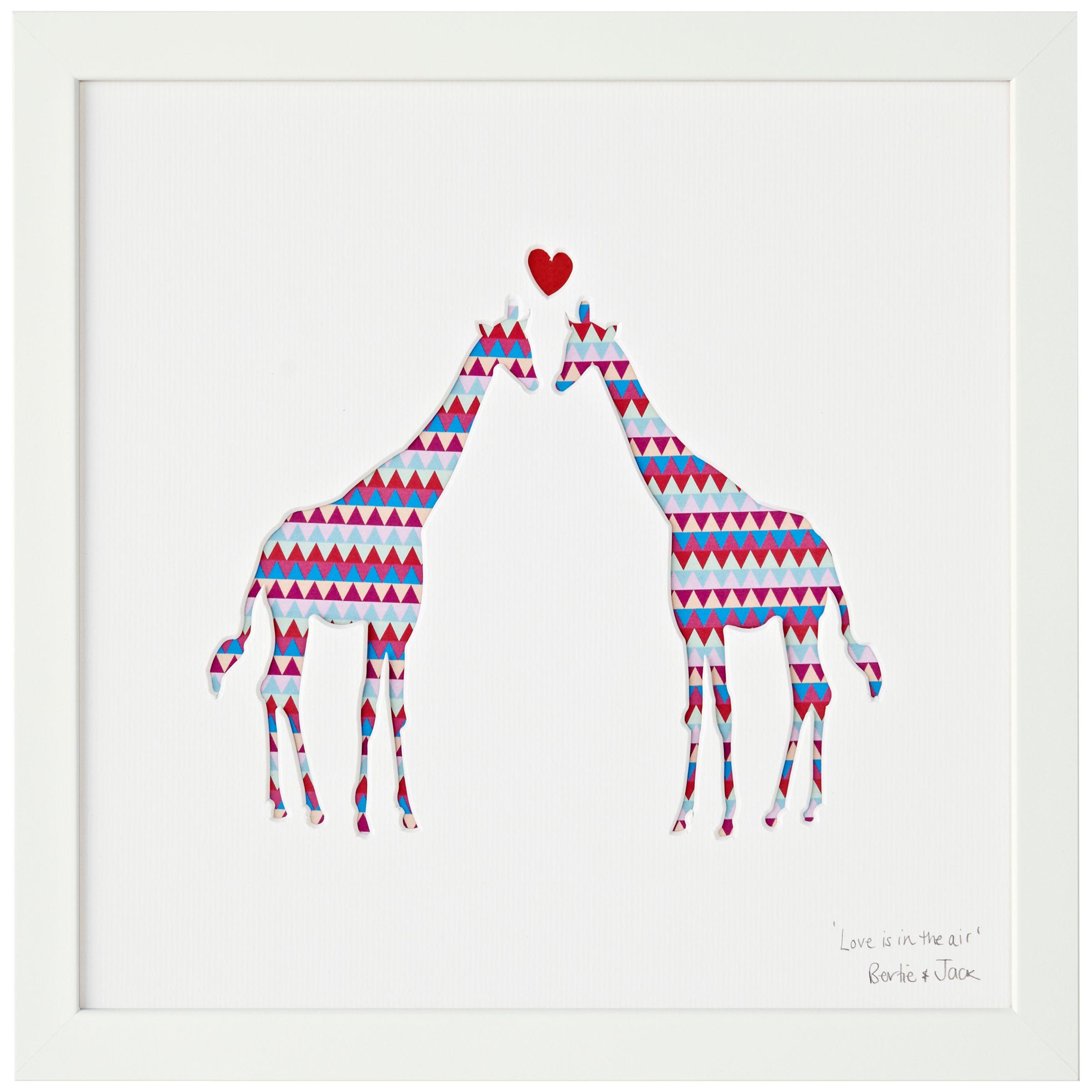 Bertie & Jack Bertie & Jack 'Love is in the Air' Giraffe Framed Cut-out, 27.4 x 27.4cm