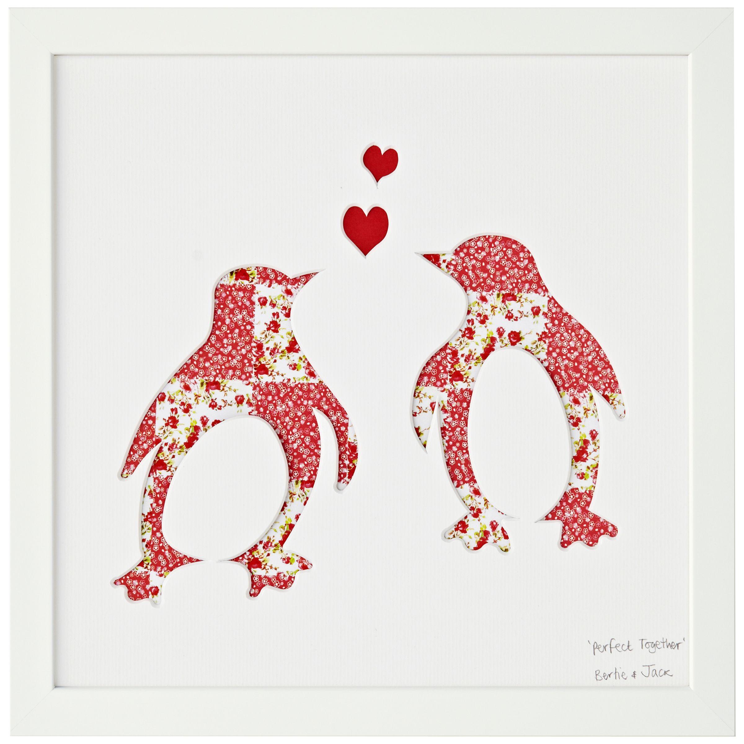 Bertie & Jack Bertie & Jack 'Perfect Together' Penguin Framed Cut-out, 27.4 x 27.4cm