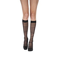 Buy Pretty Polly Animal Pattern & Stripe Knee High Tights, Pack of 2, Black Online at johnlewis.com