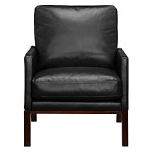 Buy John Lewis Milan Leather Armchair, Black Vogue Online at johnlewis.com