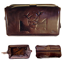 Buy Tyler & Tyler Leather Rut Washbag, Brown Online at johnlewis.com
