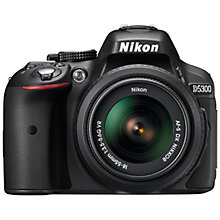 "Buy Nikon D5300 Digital SLR Camera with 18-55mm VR Lens, HD 1080p, 24.2MP, Wi-Fi, GPS, EVF, 3.2"" Screen Online at johnlewis.com"
