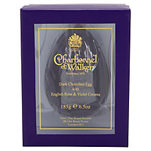 Buy Charbonnel et Walker Dark Chocolate Egg with Rose and Violet Creams, 185g Online at johnlewis.com