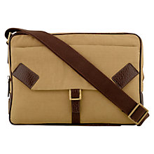 Buy Hidesign Drake Medium Zip Top Courier Bag, Khaki Online at johnlewis.com