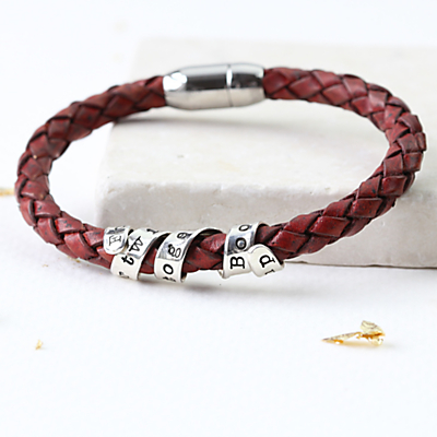 Twisted Typist Personalised Twist Bracelet, Silver/Red