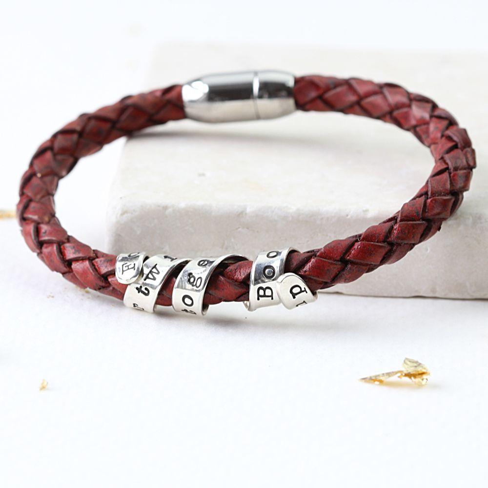 FingerPrint Jewellery Twisted Typist Personalised Twist Bracelet, Silver/Red