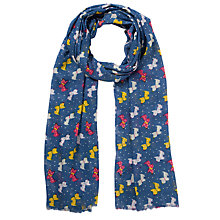 Buy John Lewis Scottie Dog Print Scarf, Navy Online at johnlewis.com