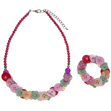 Buy John Lewis Girl Button Bracelet and Necklace Set, Multi Online at johnlewis.com