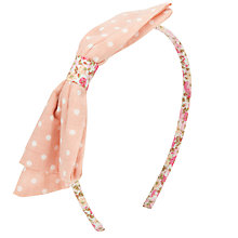Buy John Lewis Girl Printed Bow Alice Band, Pink Online at johnlewis.com