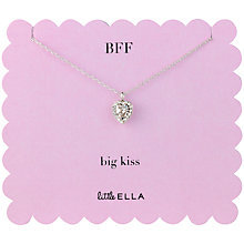 Buy Little Ella BFF Big Kiss Diamante Pendant Necklace, Silver Online at johnlewis.com