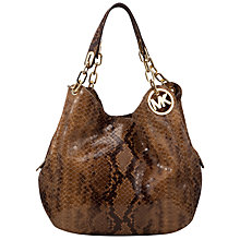 Buy MICHAEL Michael Kors Fulton Leather Shoulder Handbag, Python Sand Online at johnlewis.com