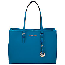 Buy MICHAEL Michael Kors Jet Set Travel Leather East / West Tote Handbag, Navy Online at johnlewis.com