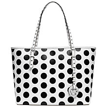 Buy MICHAEL Michael Kors Jet Set Travel Dot Small Leather Tote Handbag, Black/White Online at johnlewis.com