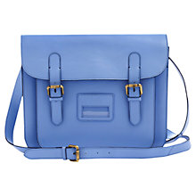 Buy Joules Leather Satchel Bag, Blue Online at johnlewis.com