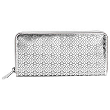 Buy MICHAEL Michael Kors Perforated Flower Zip Around Purse, Silver Online at johnlewis.com