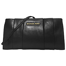 Buy MICHAEL Michael Kors Daria Leather Pleated Clutch Handbag, Black Online at johnlewis.com