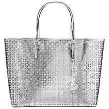 Buy MICHAEL Michael Kors Flower Tote Leather Handbag, Silver Online at johnlewis.com