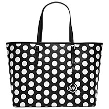 Buy MICHAEL Michael Kors Jet Set Travel Dot Leather Tote Handbag, Black Online at johnlewis.com