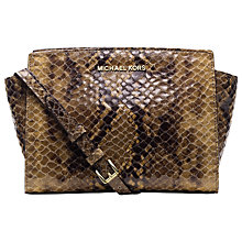 Buy MICHAEL Michael Kors Selma Leather Shoulder Bag, Python Brown Online at johnlewis.com