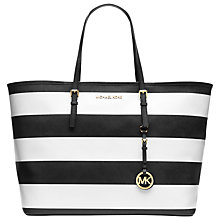 Buy MICHAEL Michael Kors Jet Set Travel Leather Tote Handbag, Stripe Online at johnlewis.com