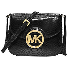 Buy MICHAEL Michael Kors Fulton Patent Mock Croc Small Across Body Handbag, Black Online at johnlewis.com