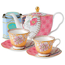 Buy Wedgwood Butterfly Bloom Teapot with Yellow Cup and Saucer Set + FREE matching Cup and Saucer Set and Tea Caddy Online at johnlewis.com